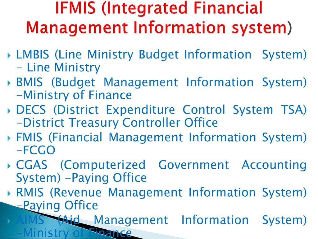 IFMIS (Integrated Financial Management Information system)