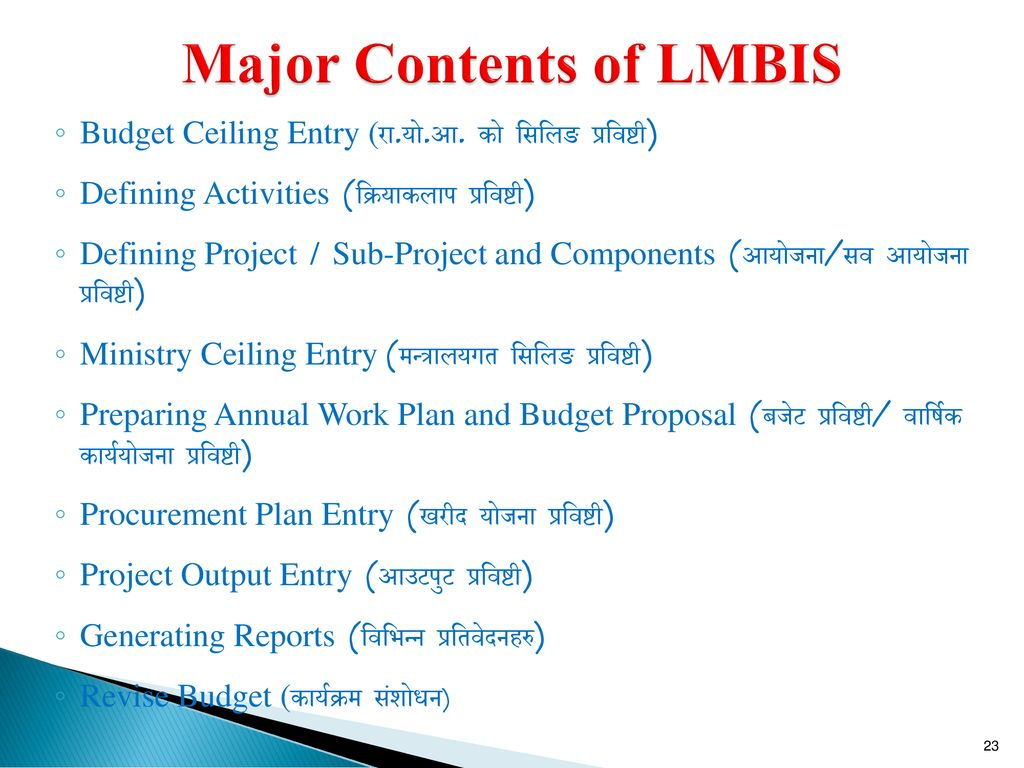 Major Contents of LMBIS