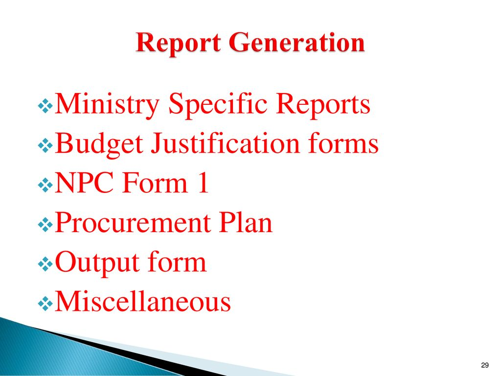 Ministry Specific Reports Budget Justification forms NPC Form 1